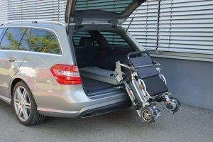 Rollstuhlverladesystem LADEBOY Kofferraum mit Sonderhalterung für die Verladung von Movingstar Rollstühlen